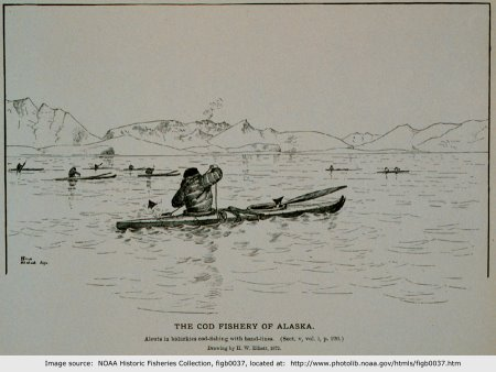 Aleuts fishing Cod from kayaks in Alaska, 1872.