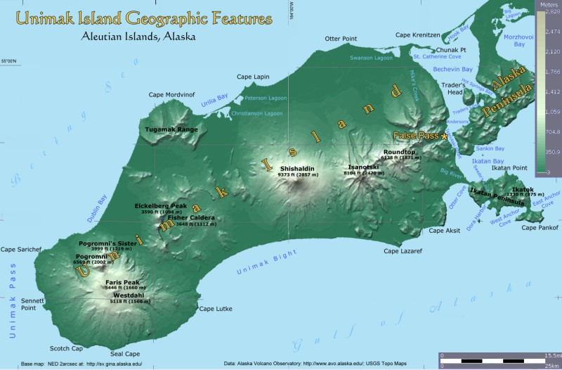 Unimak Island, Alaska:  Geographic Features