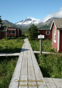 Cannery boardwalk & Roundtop Volcano, False Pass, Alaska 2007