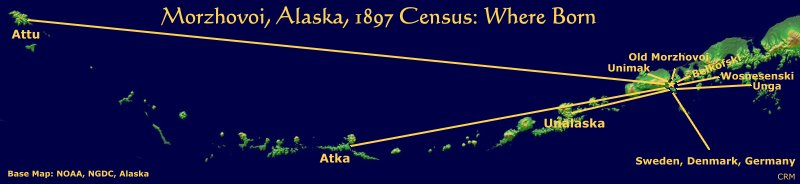 Morzhovoi, Alaska, 1897 Census; Where Born Map