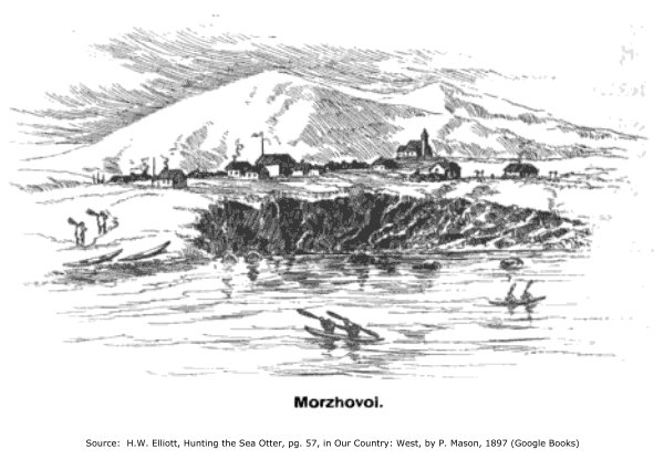 Morzhovoi, Alaska: Drawing by H.W. Elliott, 1897