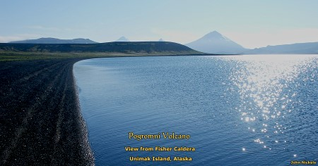 Pogromni Volcano viewed from Fisher Caldera lake, Unimak Island, Alaska