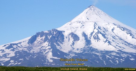Shishaldin Volcano seen from west, Unimak Island, Alaska