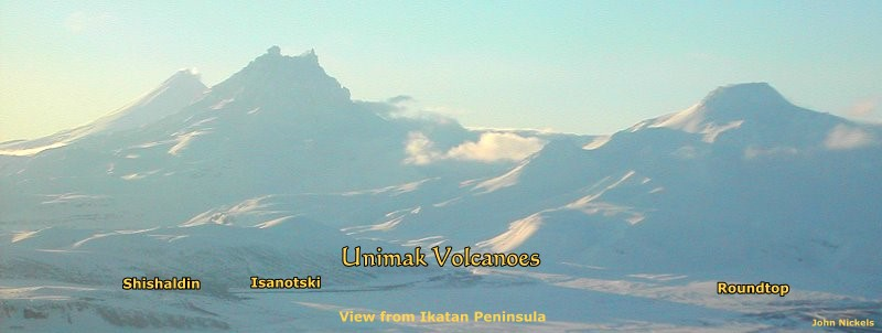 Volcanoes of Unimak as seen from Ikatan Peninsula